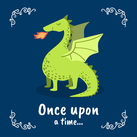 Once Upon a Time Banner Template, Fairytale Dragon on Dark Blue Background, Design Element Can Be Used for Invitation Card, Flyer, Poster, Label, Brochure Vector Illustration