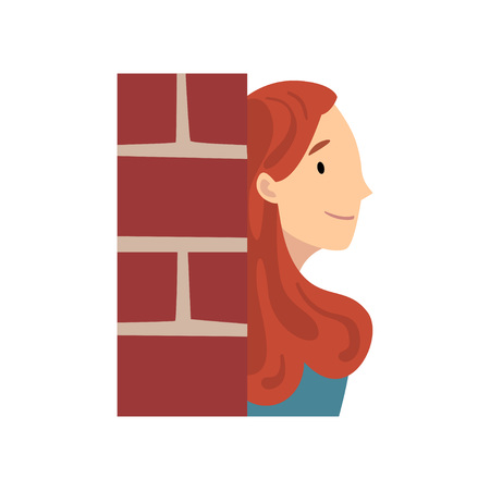 Girl Hiding Behind Brick Wall and Peeping Cartoon Vector Illustration on White Background.