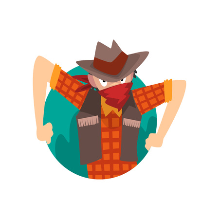Cowboy Man Climbing Out of Triangular Shape Cartoon Vector Illustration