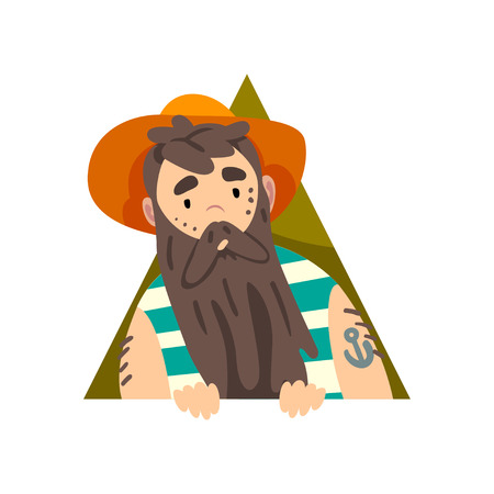 Bearded Man Looking Out Triangle Shape Cartoon Vector Illustration