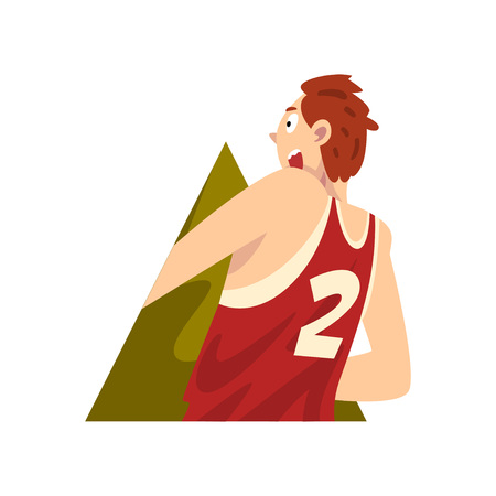 Young Man Climbing Out of Triangular Shape Cartoon Vector Illustration