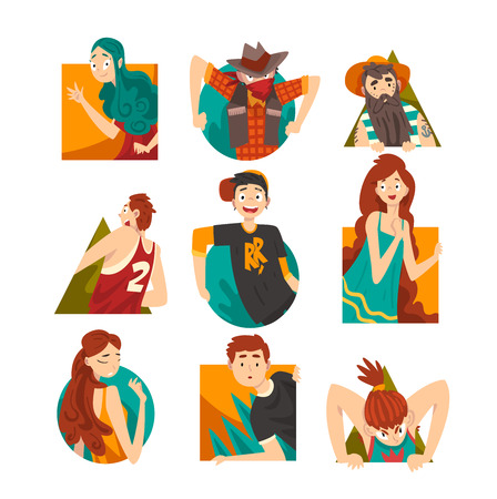 Collection of Cheerful People Looking Out Geometric Shapes Cartoon Vector Illustration