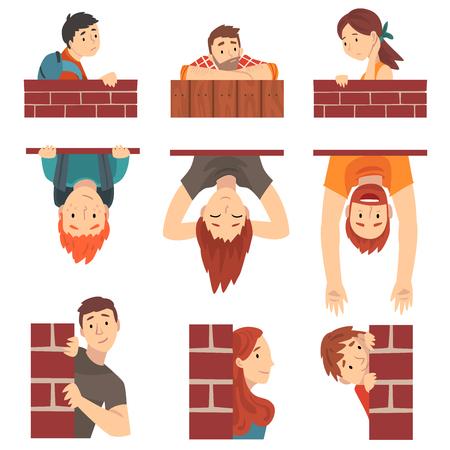 La gente que se esconde detrás de la pared de ladrillo y que mira furtivamente establece la ilustración vectorial de dibujos animados sobre fondo blanco.