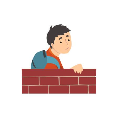 Muchacho adolescente con mochila de pie detrás de la ilustración de vector de dibujos animados de pared de ladrillo sobre fondo blanco. Ilustración de vector
