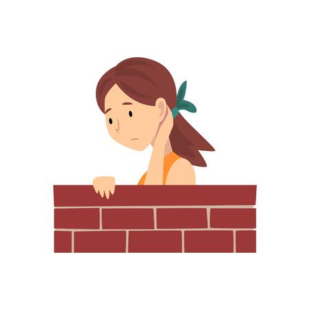 Mädchen, das hinter Backsteinmauer-Karikatur-Vektor-Illustration auf weißem Hintergrund steht.