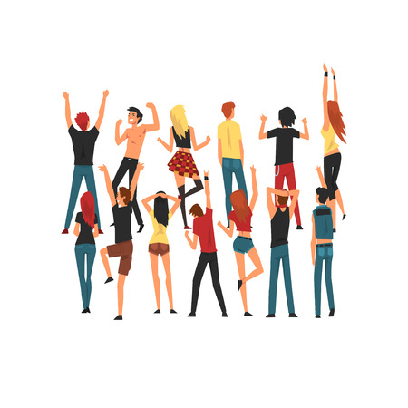 People Dancing and Having Fun Outdoor at Open Air Concert, Rock Fest, Crowd Celebrating During Outdoor Summer Music Festival Vector Illustration on White Background. 向量圖像