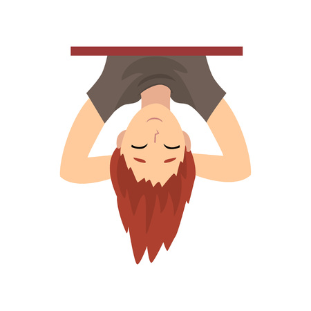 Teen Boy Hanging Upside Down Behind Wall Cartoon Vector Illustration on White Background. Illustration
