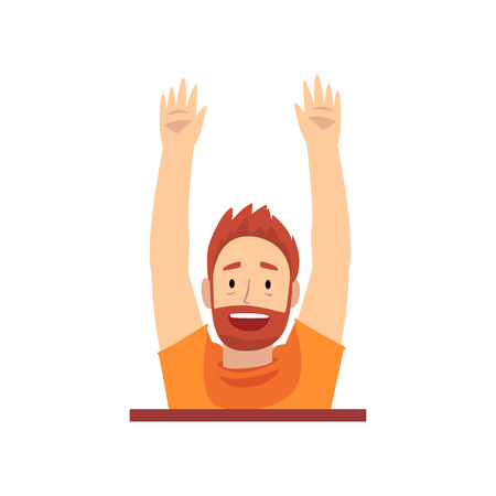 Bearded Man with Raised Hands Looking Out from Behind Brick Wall Cartoon Vector Illustration on White Background.