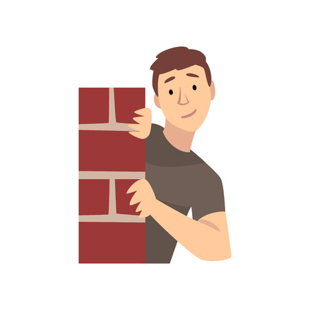Junger Mann, der hinter der Ecke der Backsteinmauer-Karikatur-Vektor-Illustration auf weißem Hintergrund schaut.