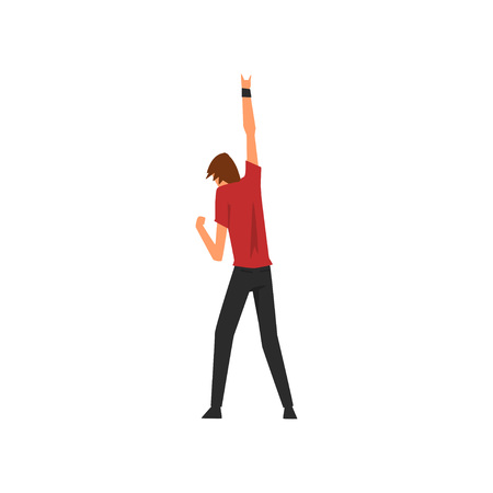 Young Man Dancing and Having Fun Outdoor at Open Air Concert, Rock Fest, Outdoor Summer Music Festival, View From the Back Vector Illustration on White Background. Vettoriali