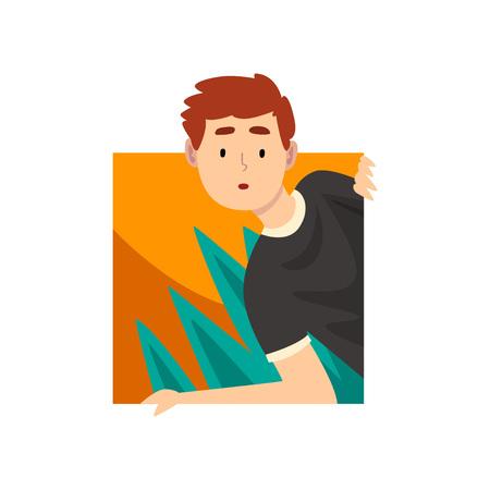 Neugieriger junger Mann, der heraus quadratische Form-Karikatur-Vektor-Illustration auf weißem Hintergrund schaut.