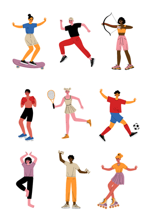 Collection of Young People Doing Different Kinds of Sports, Professional Athletes Characters in Sportswear with Sports Equipment, Active Healthy Lifestyle Vector Illustration 스톡 콘텐츠 - 121975909