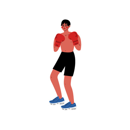 Male Boxer Athlete Character in Sports Uniform and Boxing Gloves, Active Healthy Lifestyle Vector Illustration on White Background. Illustration