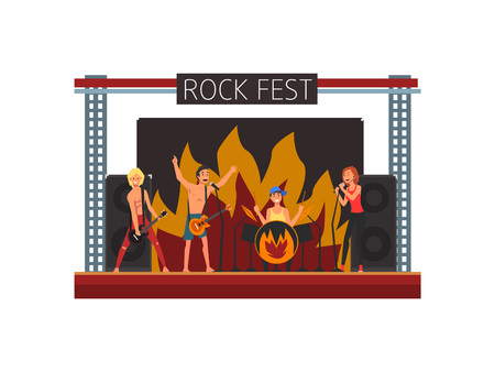 Rock Fest, Open Air Concert, Rock Band Performing on Stage, Outdoor Music Festival Vector Illustration on White Background. 向量圖像