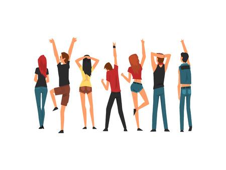 Grupo de personas bailando y divirtiéndose al aire libre en conciertos al aire libre, Rock Fest, Festival de música de verano al aire libre, vista desde la parte posterior de la ilustración vectorial sobre fondo blanco. Ilustración de vector