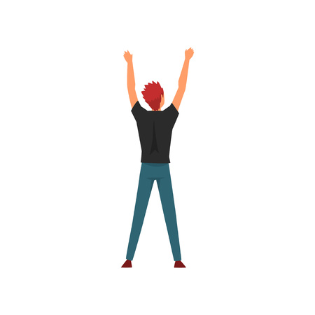 Man Standing with Raising Hands at Open Air Concert, Rock Fest, Outdoor Summer Music Festival, View From the Back Vector Illustration on White Background.
