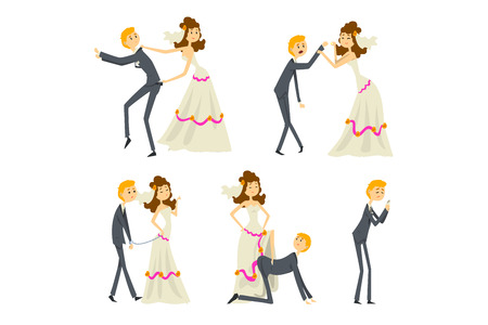 Couple of newlyweds set, henpecked man, husband dominated by wife cartoon vector Illustrations isolated on a white background. Illustration