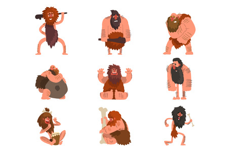 Primitive cavemen set, stone age prehistoric man cartoon character vector Illustrations isolated on a white background. Vettoriali