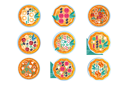 Hot whole pizza set, freshly baked pizza with various ingredients vector Illustration isolated on a white background.