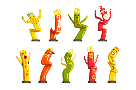Colorful dancing inflatable tube men set with waving hands vector Illustrations isolated on a white background.