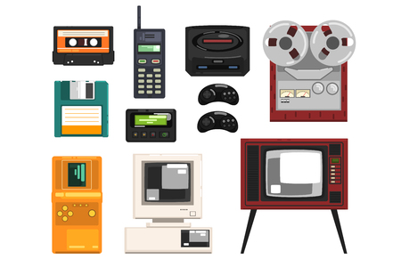 Collection of retro technique, audio music cassette, reel recorder, portable radio, pager, TV, tetris, diskette, computer vector Illustrations isolated on a white background.