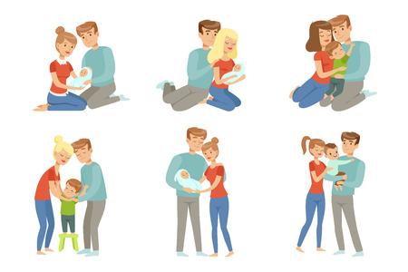 Gelukkige ouders omarmen hun kinderen set, moeder en vader knuffelen hun kinderen, gelukkige familie concept vector illustratie geïsoleerd op een witte achtergrond. Vector Illustratie