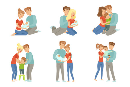 Happy parents embracing their kids set, mother and father hugging their children, happy family concept vector Illustration isolated on a white background.