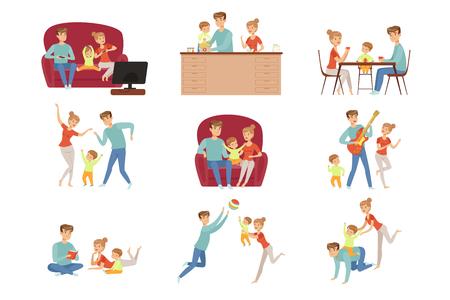 Moeder, vader en hun zoontje tijd samen doorbrengen set, gelukkige familie en ouderschap concept vector illustratie geïsoleerd op een witte achtergrond. Vector Illustratie