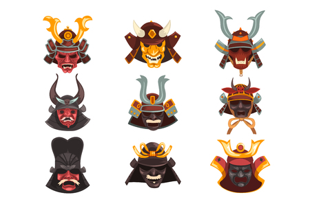Ancient Samurai warrior war masks set, symbols of traditional Japanese culture vector Illustration on a white background Illustration