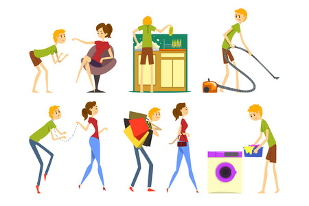 Henpecked man set, husband dominated by wife, househusband doing household cartoon vector Illustrations isolated on a white background. Ilustração