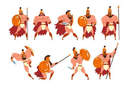 Spartan warriors in golden armor and red cape set, ancient soldiers characters vector Illustrations isolated on a white background. Illustration