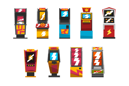 Slot machines set, arcade gambling equipment vector Illustrations isolated on a white background.
