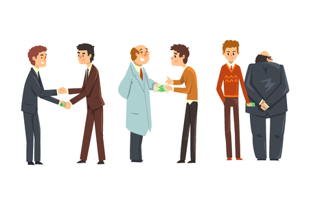 People giving bribes set, corruption and bribery concept vector Illustration isolated on a white background. Illusztráció