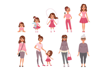 Life cycles of woman, stages of growing up from baby to woman vector Illustration isolated on a white background. Vettoriali