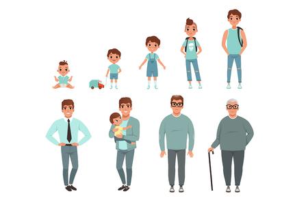 Levenscycli van de mens, stadia van opgroeien van baby tot man vector illustratie geïsoleerd op een witte achtergrond.