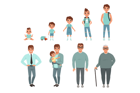 Life cycles of man, stages of growing up from baby to man vector Illustration isolated on a white background.