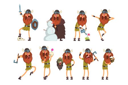 Viking cartoon characters set, Scandinavian warrior in traditional clothes in different situations vector Illustration isolated on a white background. Illustration