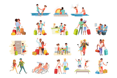 People traveling set, family couple with luggage on vacation vector Illustrations isolated on a white background. Stock Illustratie