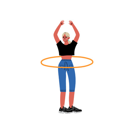 Girl Twirling Hula Hoop Around Her Waist, Physical Workout Training, Active Healthy Lifestyle Vector Illustration on White Background.
