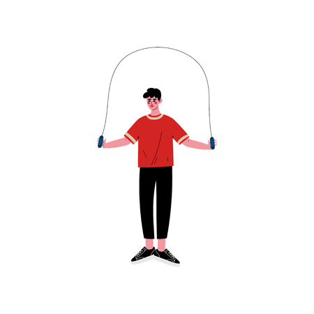 Young Man Skipping with Jump Rope, Male Athlete Character in Sportswear, Physical Workout Training, Active Healthy Lifestyle Vector Illustration on White Background.