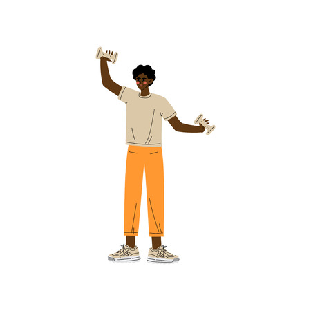 Man Exercising with Dumbbells, Male African American Athlete Character in Sportswear, Active Healthy Lifestyle Vector Illustration on White Background.