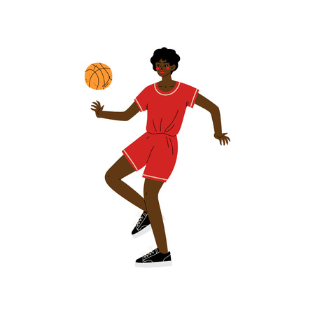 Basketball Player with Ball, Male African American Athlete Character in Red Sports Uniform Playing with Ball, Active Healthy Lifestyle Vector Illustration Illustration