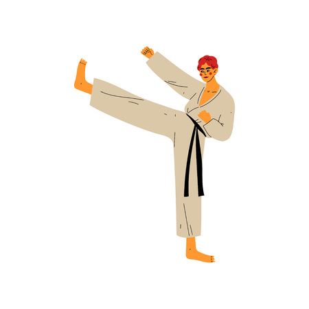 Karate Fighter Doing Powerful Kick, Male Athlete Character in Kimono Fighting, Active Healthy Lifestyle, Japan Traditional Martial Art Vector Illustration on White Background. Illustration
