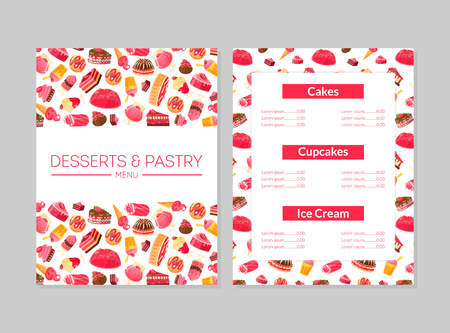Desserts and Pastry Menu, Cakes, Cupcakes and Ice Cream, Bakery, Confectionery, Shop Design Element Colorful Vector Illustration Çizim