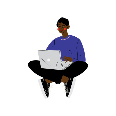 Young African American Man Sitting on Floor with Laptop, Guy Working or Relaxing Using Computer Vector Illustration on White Background.