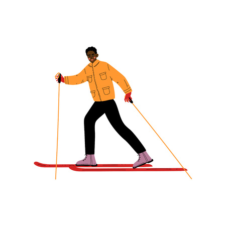 Man on Skis, Male African American Athlete Character Skiing, Winter Sport, Active Healthy Lifestyle Vector Illustration on White Background.  イラスト・ベクター素材