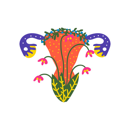Beauty Female Reproductive System with Blooming Flowers and Plants Vector Illustration on White Background.