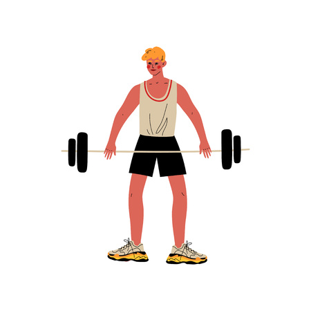 Male Weightlifter, Athlete Character in Sports Uniform Rising Barbell, Active Healthy Lifestyle Vector Illustration on White Background.
