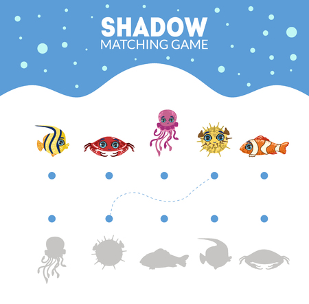 Matching Game with Cute Sea Creatures, Find the Correct Shadow Educational Game for Kids Vector Illustration