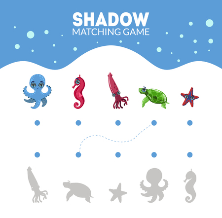 Matching Game with Cute Sea Creatures, Octopus, Squid, Turtle, Seahorse, Starfish, Find the Correct Shadow Educational Game for Kids Vector Illustration